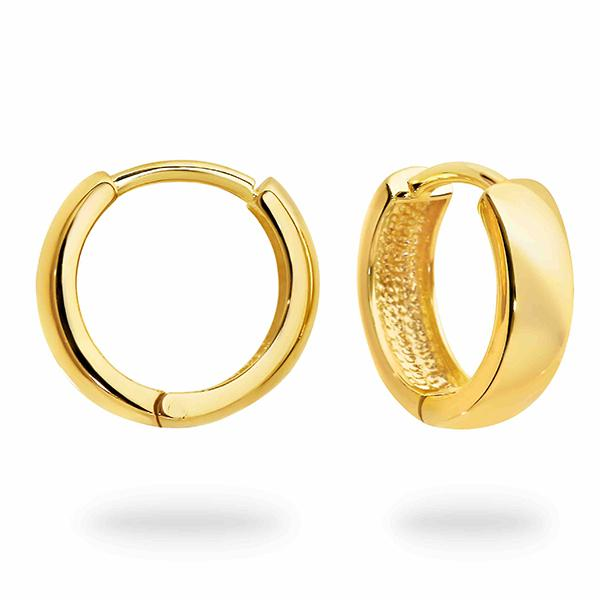 DUO FINE 9CT YELLOW GOLD 12.5MM HOOP EARRINGS