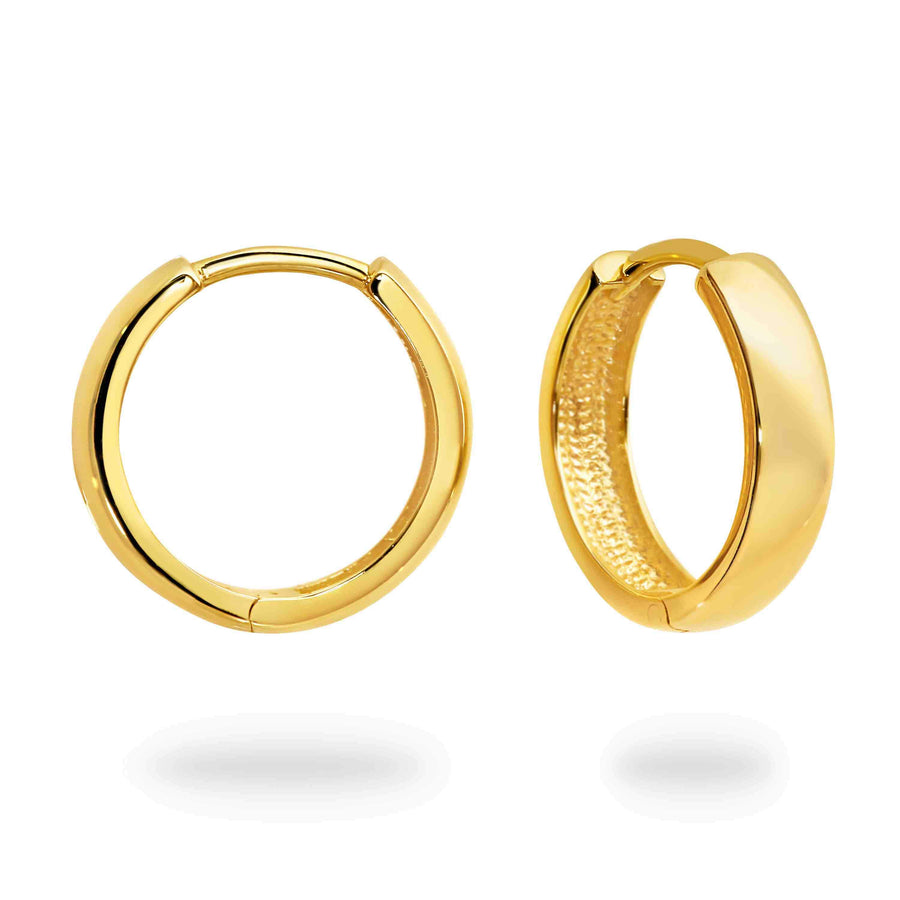 DUO FINE 9CT YELLOW GOLD 15.2MM HOOP EARRINGS