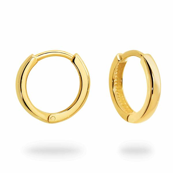 DUO FINE 9CT YELLOW GOLD  12.3MM HOOP EARRINGS