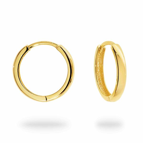 DUO FINE 9CT YELLOW GOLD 16MM HOOP EARRINGS