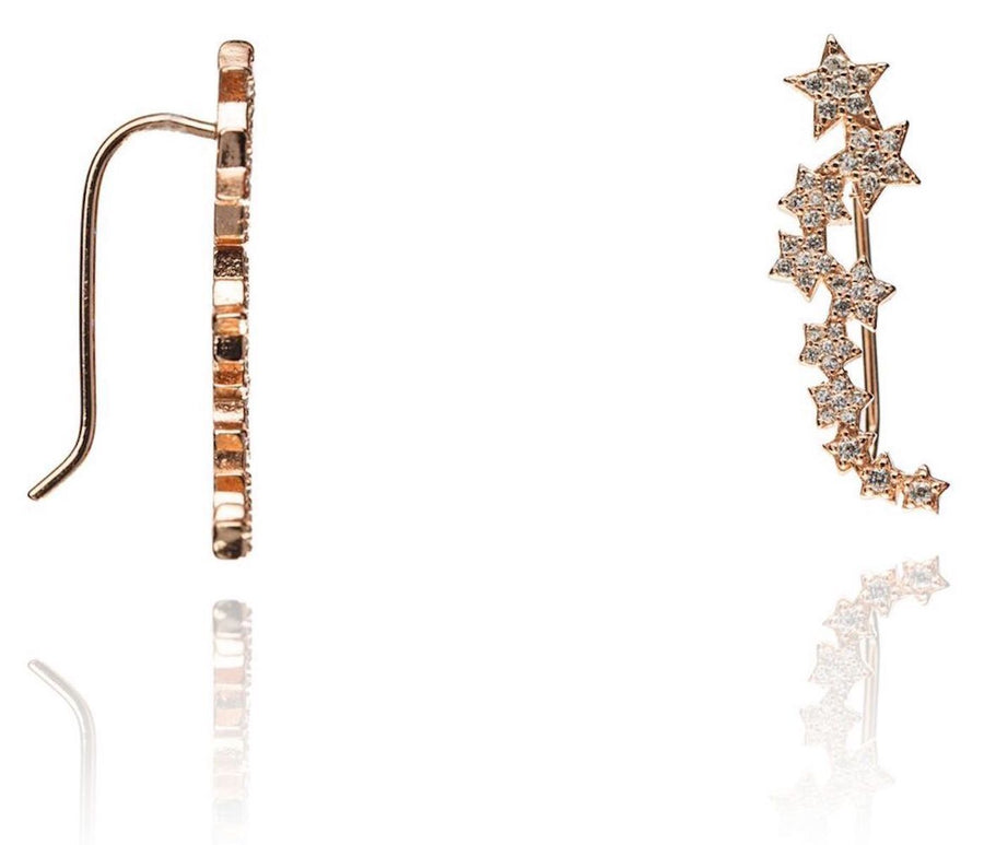 Duo rose gold stars crawler earrings