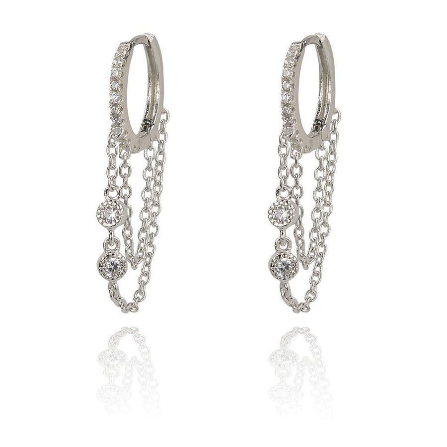 DUO HUGGY AND CHAIN DROP GLITTER EARRINGS