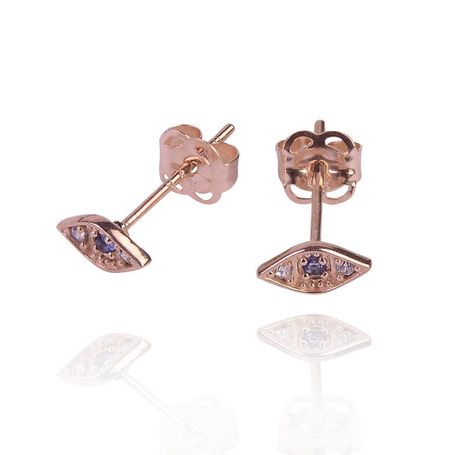DUO 9k solid rose gold evil eye stud earrings