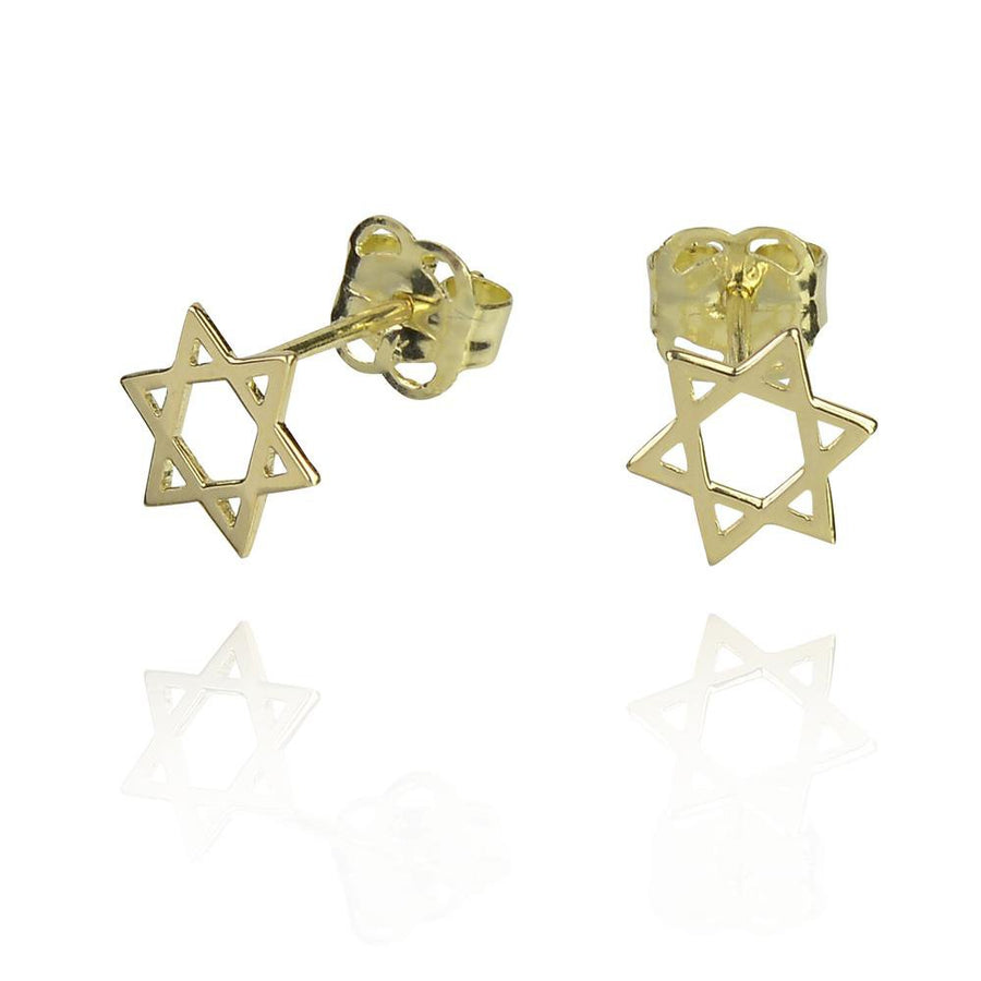DUO 9k solid gold david cross stud earrings