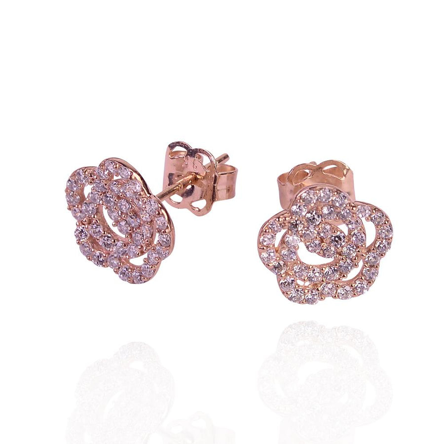 Duo 9k solid rose gold flower stud earrings