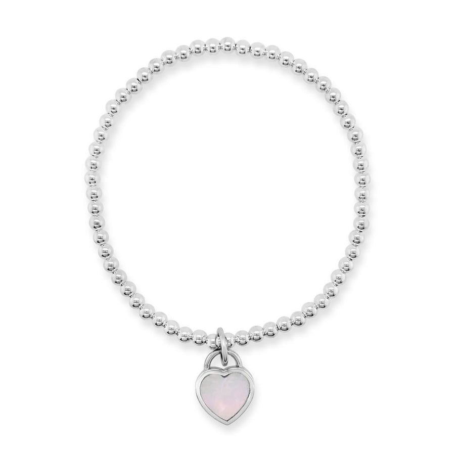 Duo mother of pearl heart bracelet