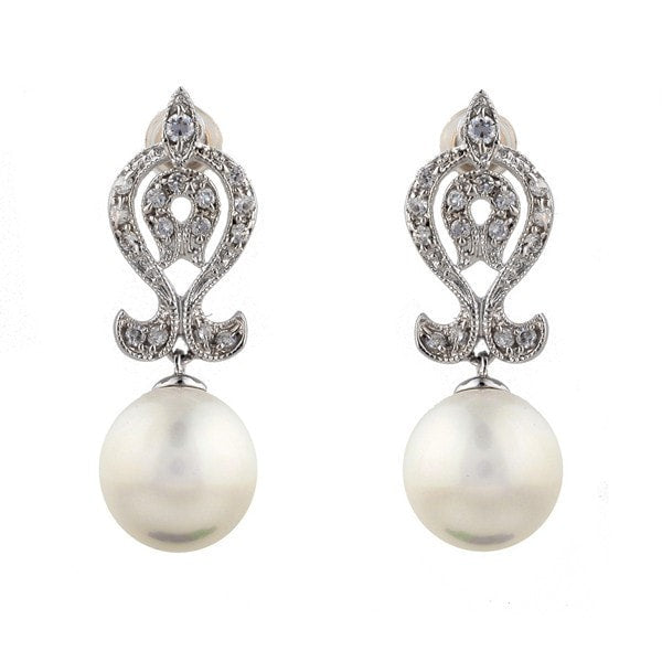 Sybella Art Deco Cubic Zirconia And Pearl  Earrings