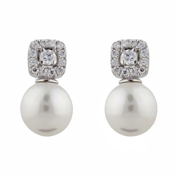 Sybella White Pearl And Cubic Zirconia Stud Earrings
