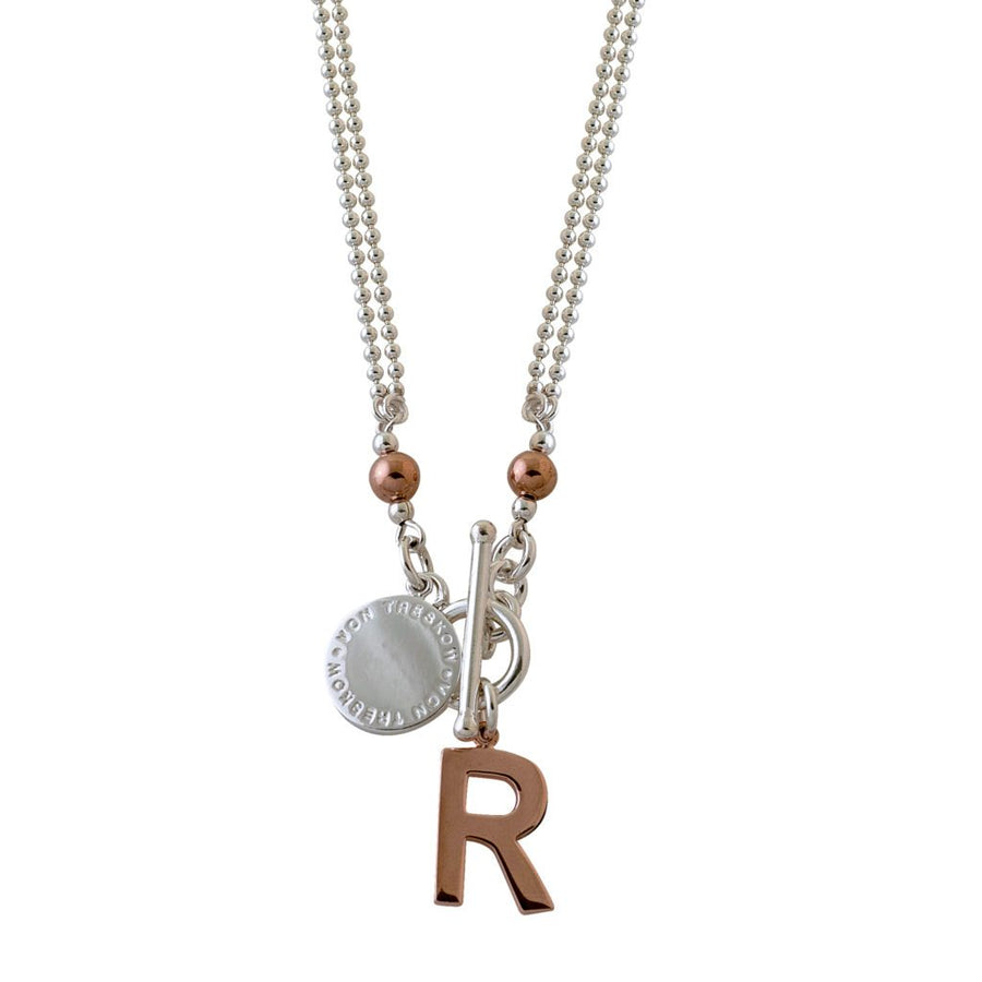 Von Treskow two tone initial necklace