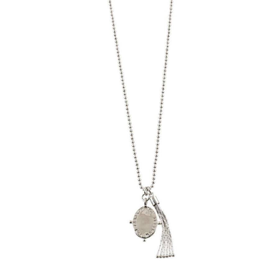 VON TRESKOW BALL CHAIN WITH  PLATE AND TASSEL NECKLACE