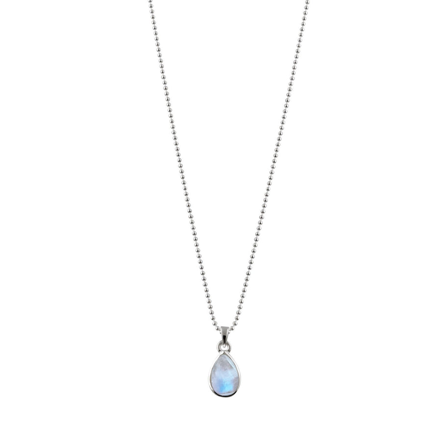 VON TRESKOW BALL CHAIN PEAR MOONSTONE NECKLACE