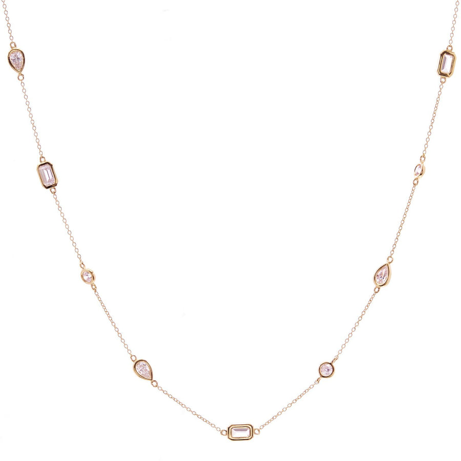 Sybella Multi shape gold necklace