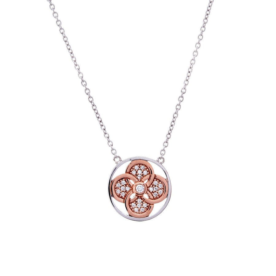 Rose gold flower & cubic zirconia necklace