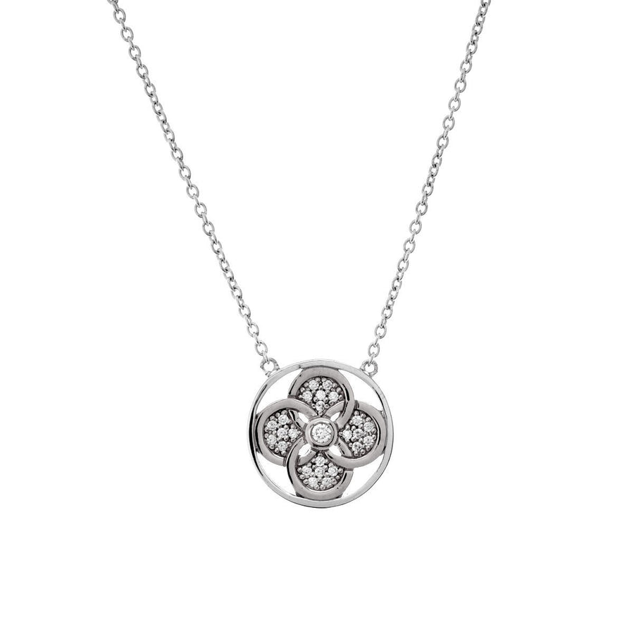 Silver flower & cubic zirconia necklace