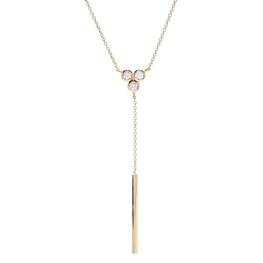 Sybella three stone gold necklace