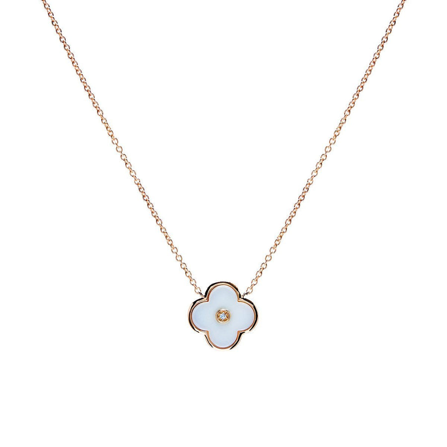 Sybella yellow gold and white flower necklace