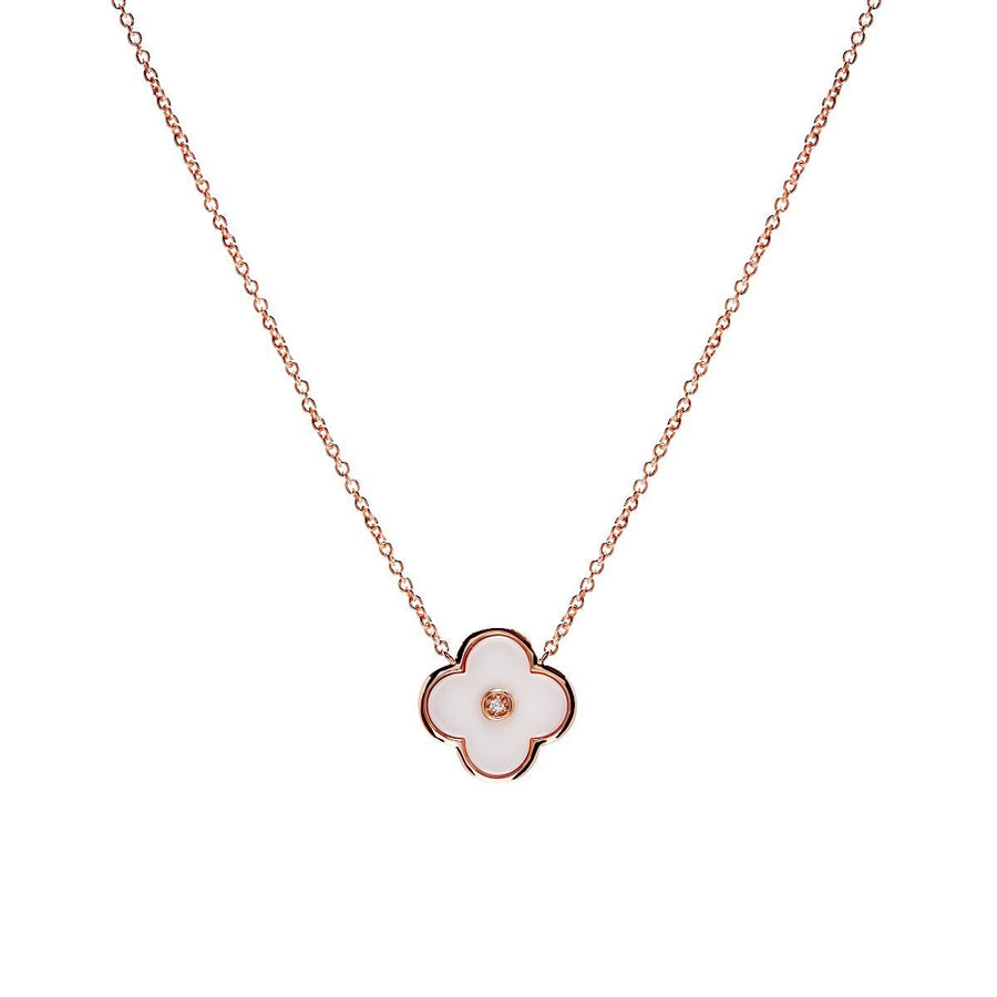 Sybella rose gold and white flower necklace
