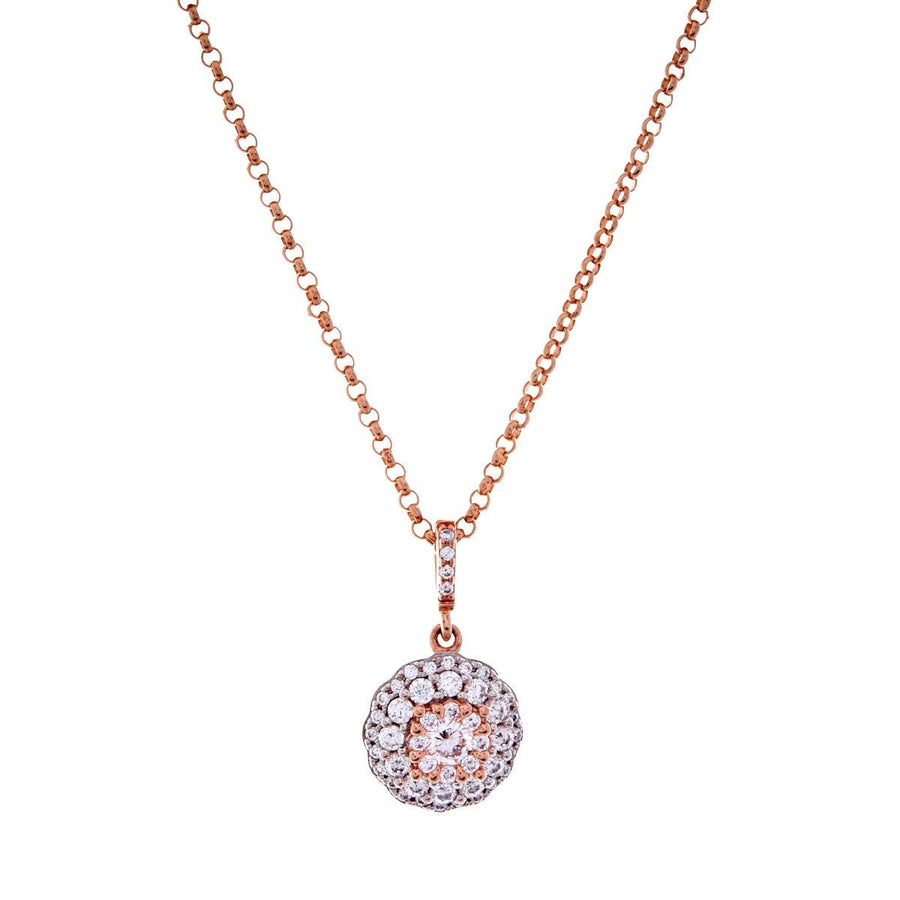 Rose gold cubic zirconia round pendant on fine chain