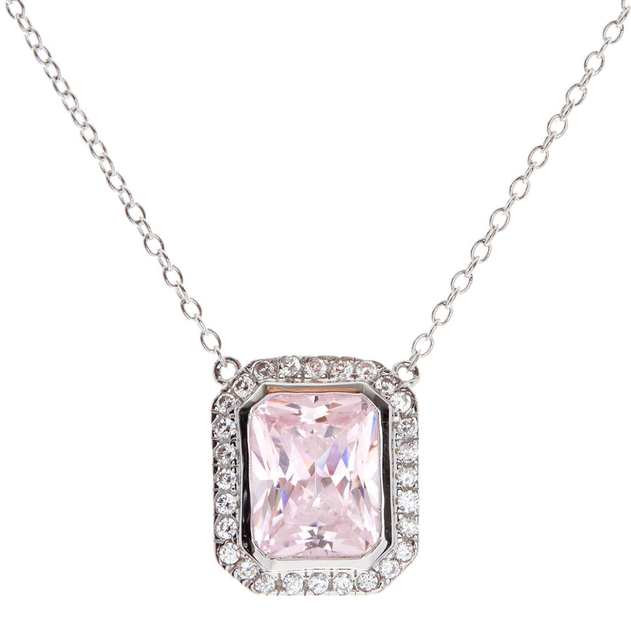 Sybella rectangle lite pink necklace