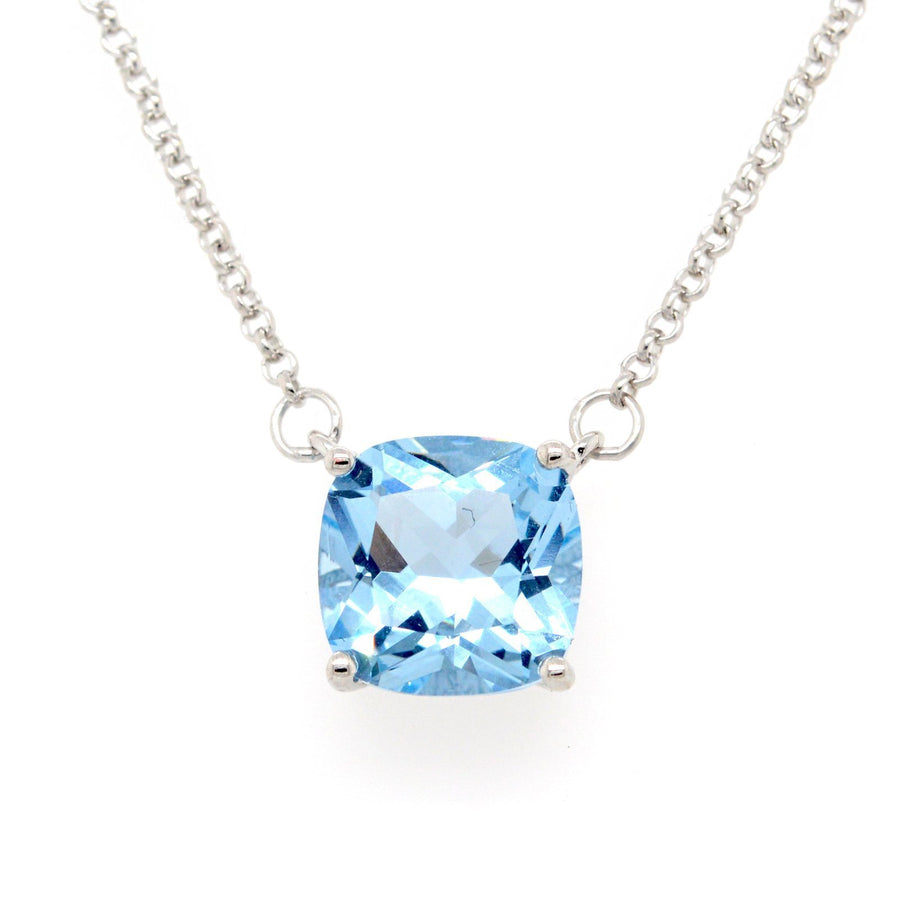 Sybella square blue cubic necklace