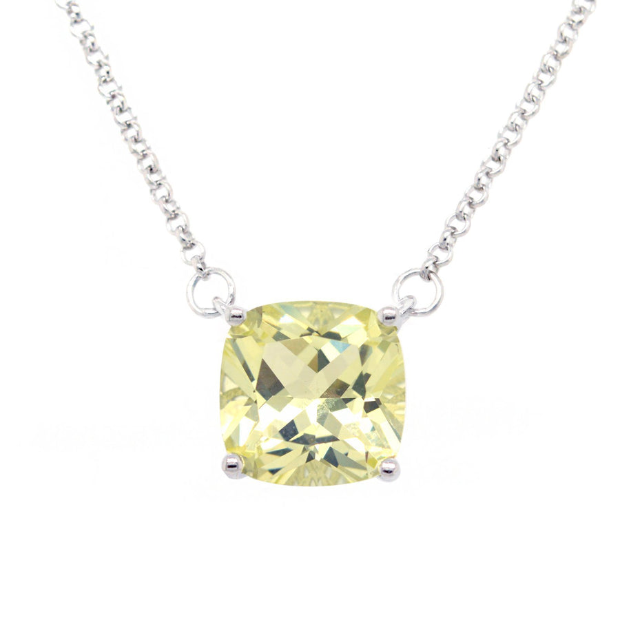 Sybella square lemon cubic necklace