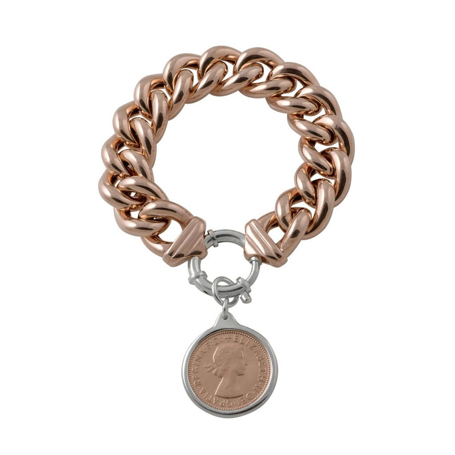 rose gold mama bracelet with half penny
