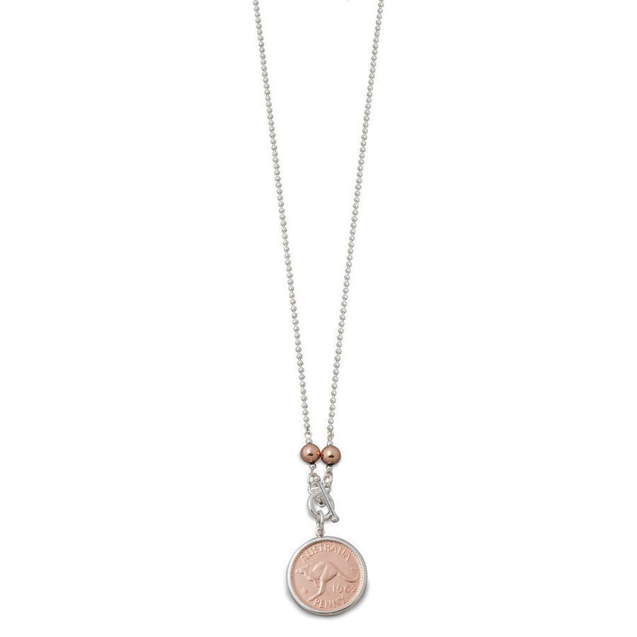 Von Treskow Silver And Rose Gold 2 Tone Penny Necklace