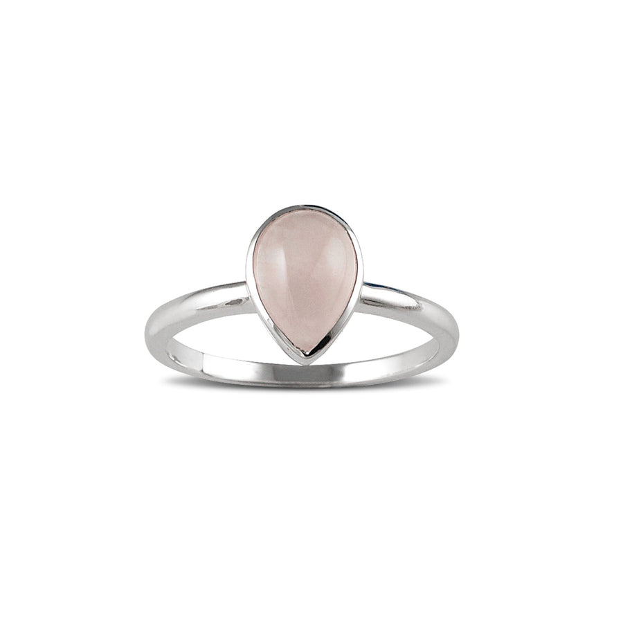 VON TRESKOW PEAR ROSE QUARTZ RING