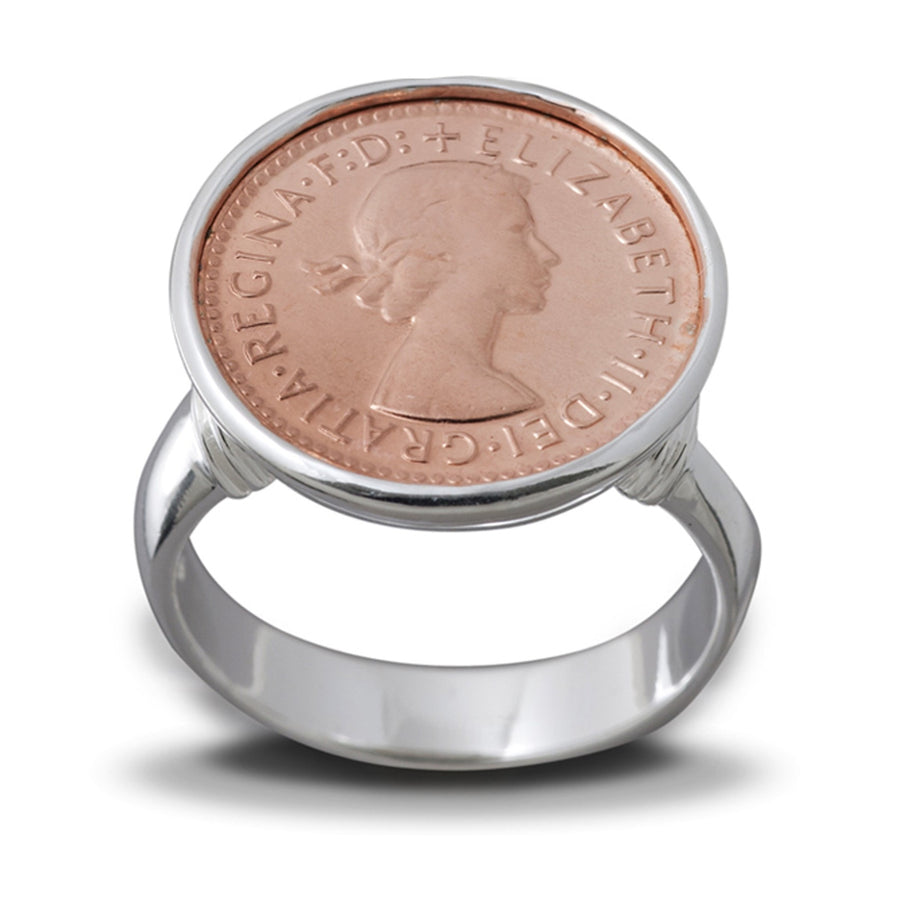 Von Treskow 3 Pence Silver And Rose Gold  Ring
