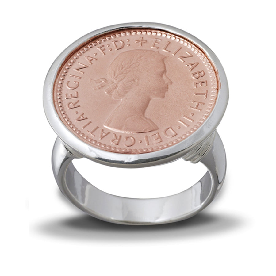 Von Treskow 6 Pence Silver And Rose Gold  Ring |