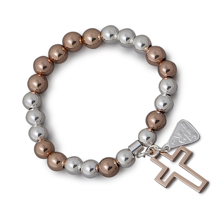 Von Treskow 2 Tone And Open Rose Gold Cross Bracelet
