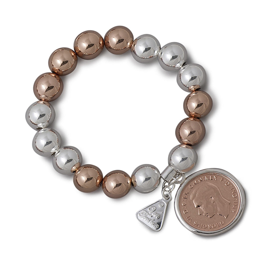 Von Treskow 2 Tone Rose Gold With Half Penny Bracelet