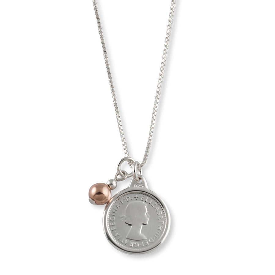 VON TRESKOW  COIN WITH ROSE BALL NECKLACE