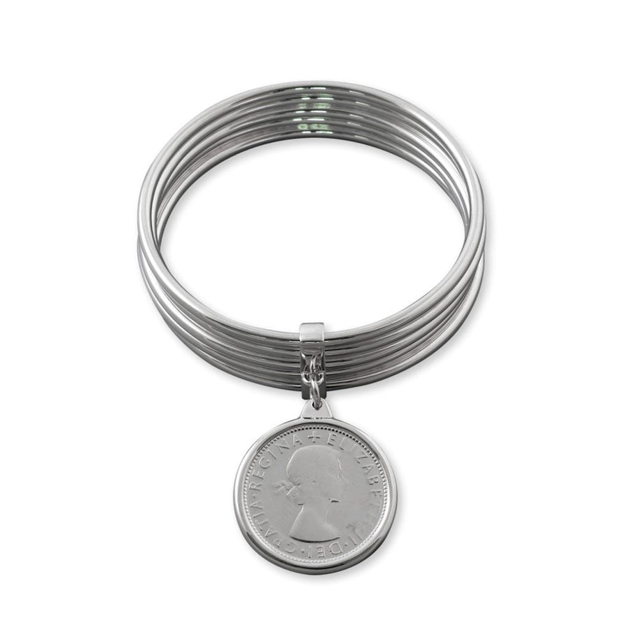Von Treskow five stack bangle with coin