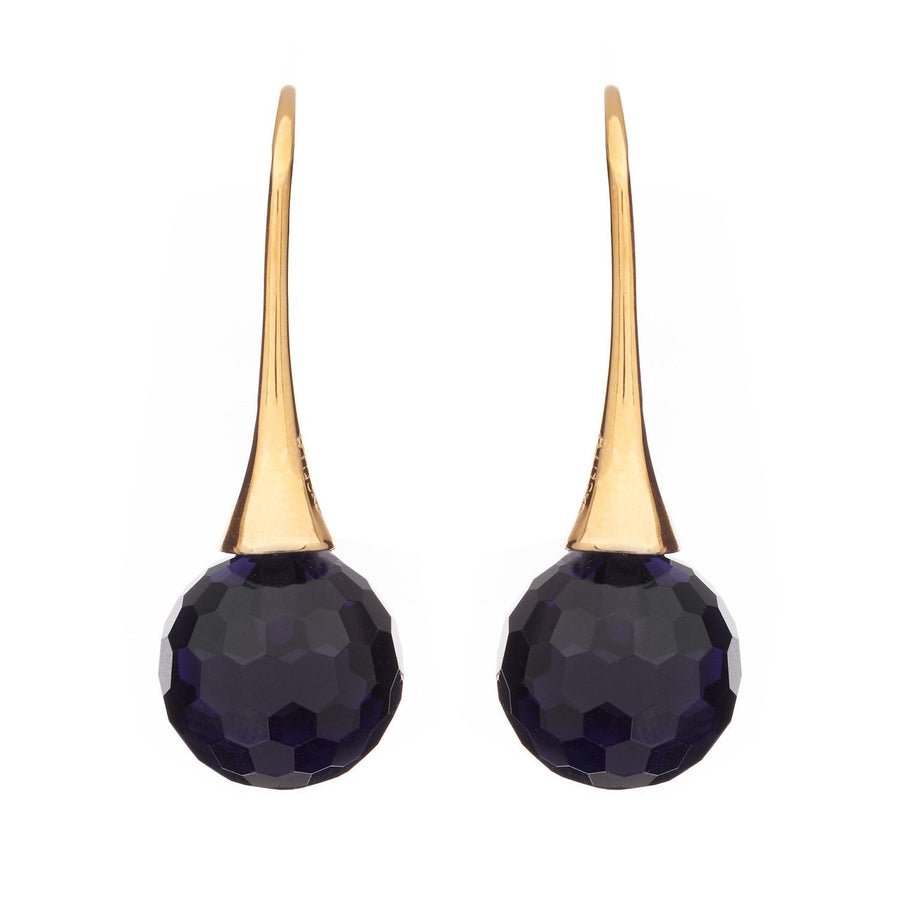 Sybella facetted sapphire ball earrings on long hook