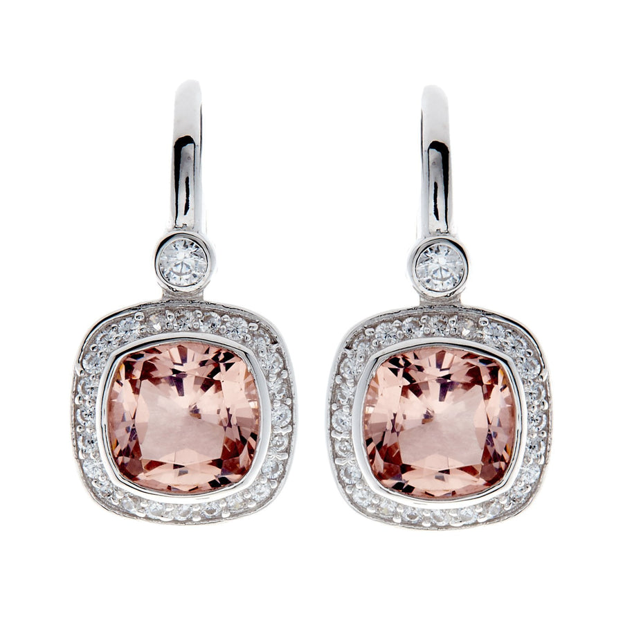 Sybella square pink earrings