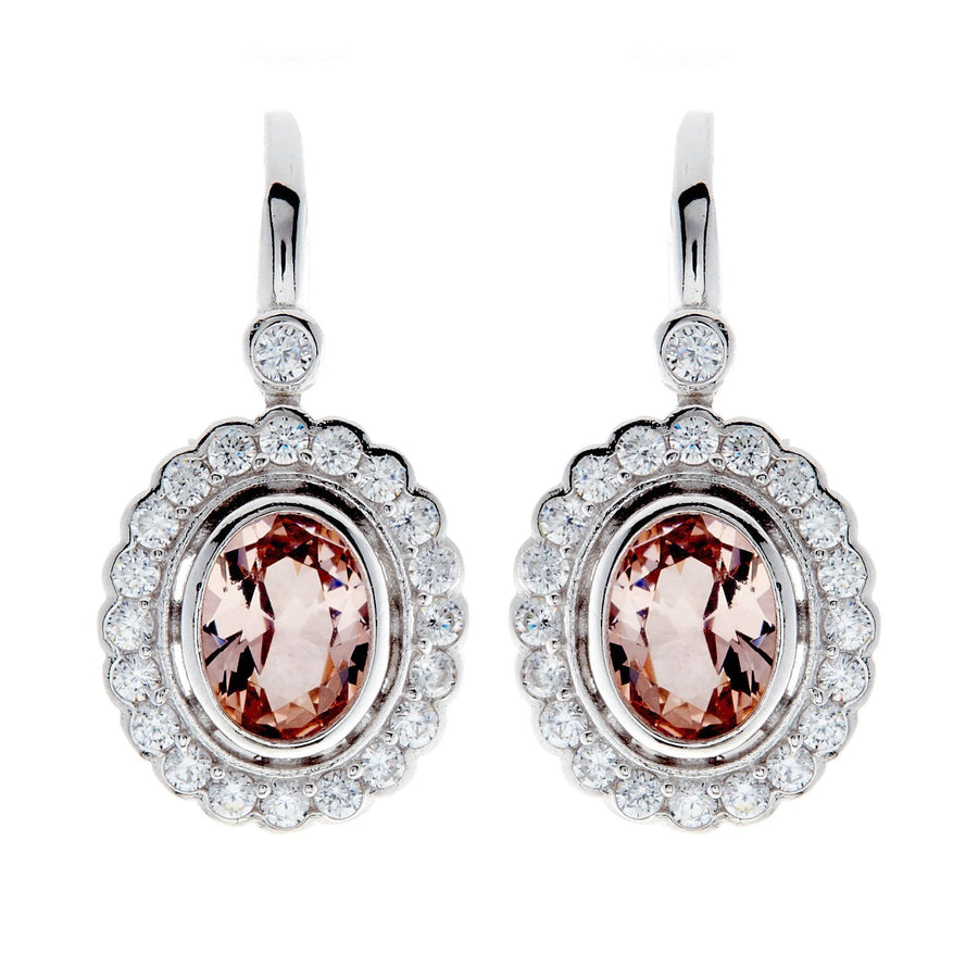 Sybella oval pink and clear drop earrings