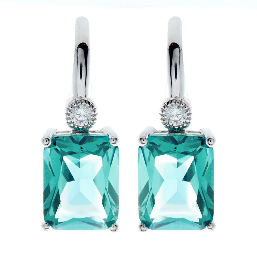 sybella rectangl green drop earrings