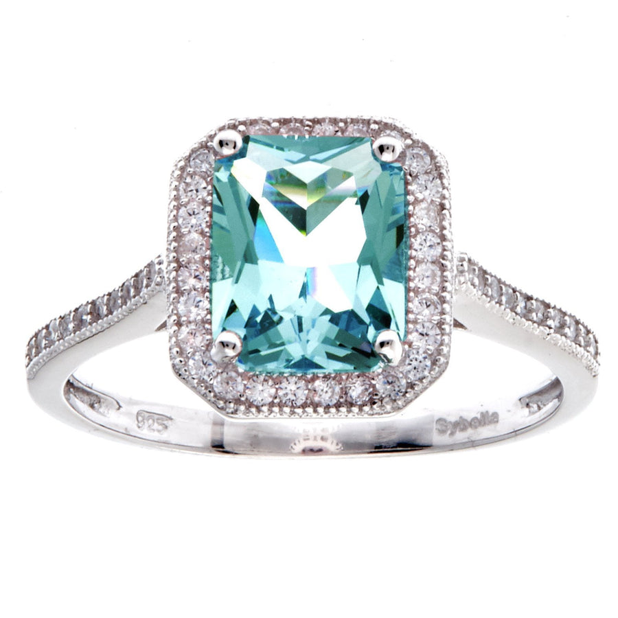 Sybella green rectangle ring