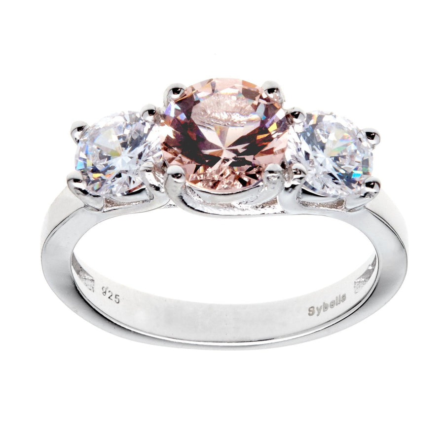 Sybella three clear and pink stone ring