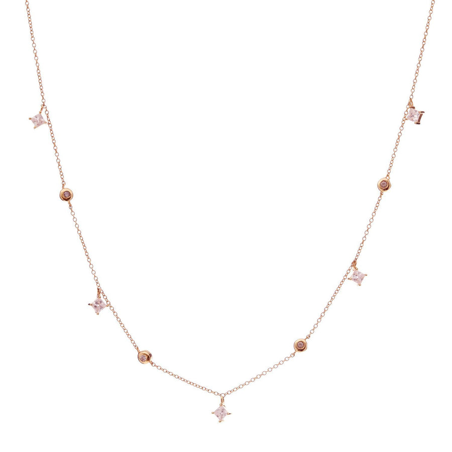 Sybella Rose gold trilliant drop necklace