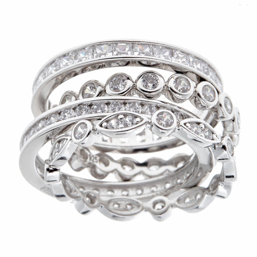 Sybella Rhodium 4-piece ring stack