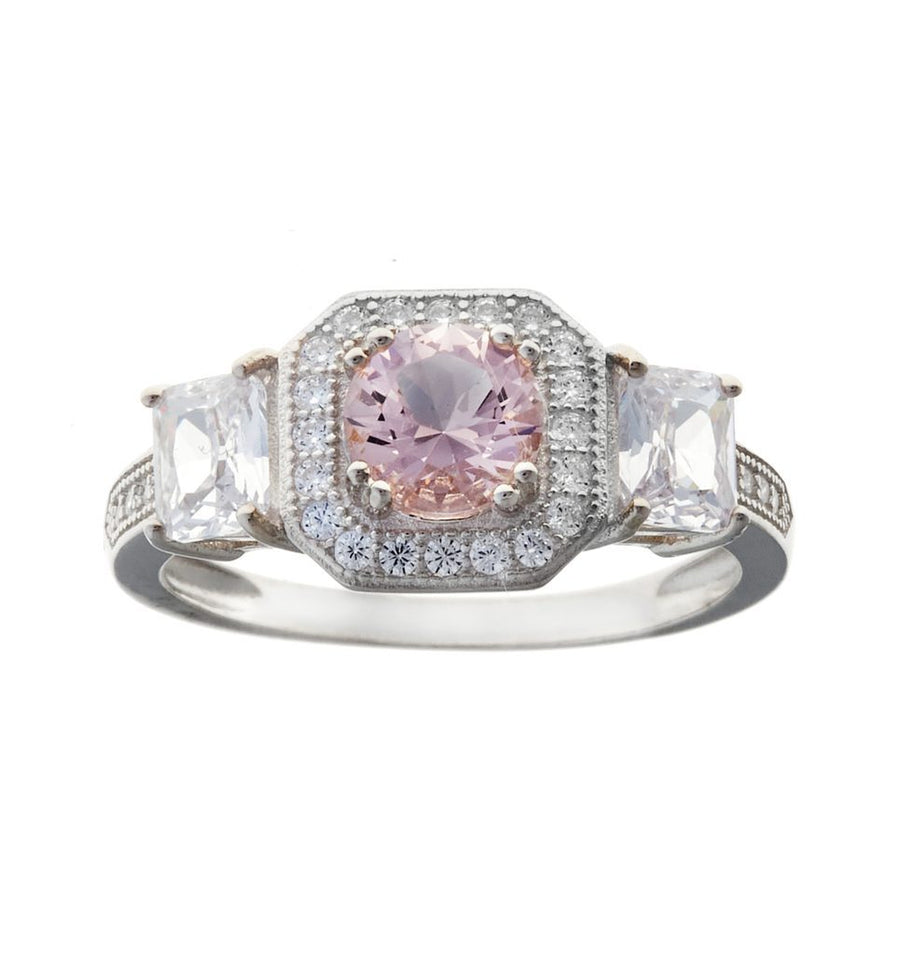 Sybella Morganite and Clear stone ring