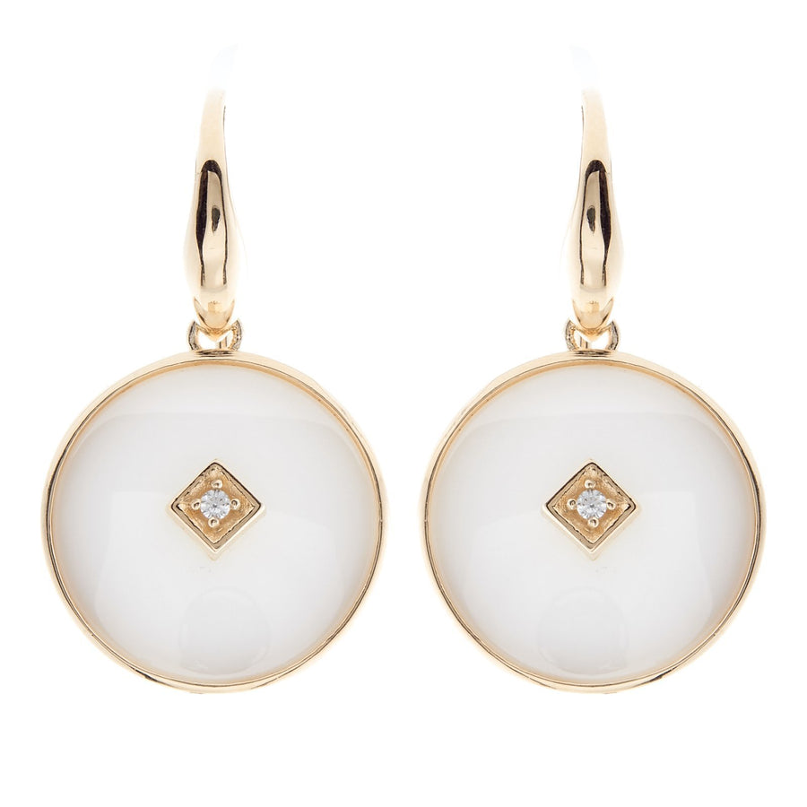 Sybella white ceramic round earrings