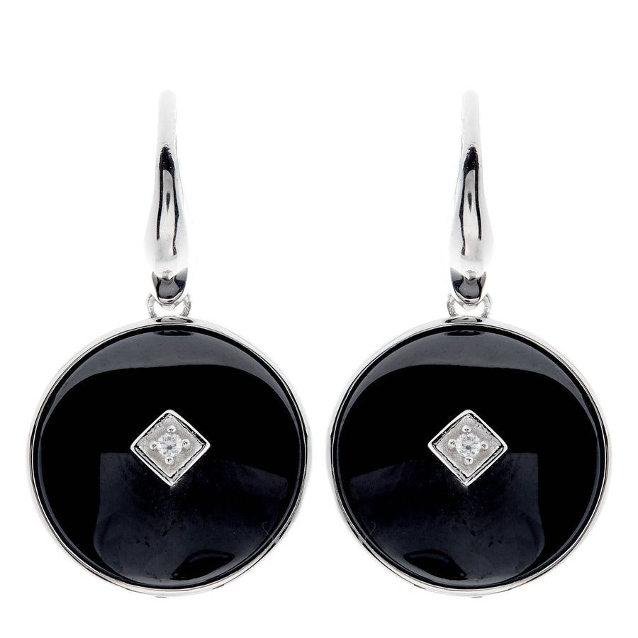 Sybella black ceramic round earrings