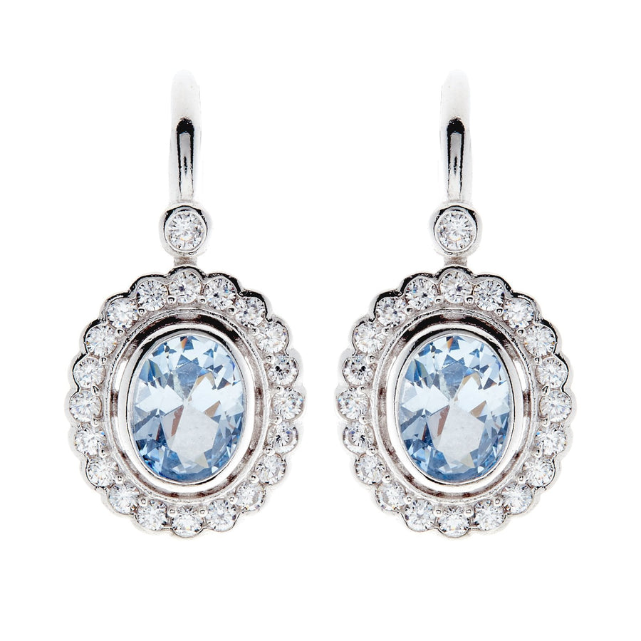 Sybella oval blue and clear drop earrings