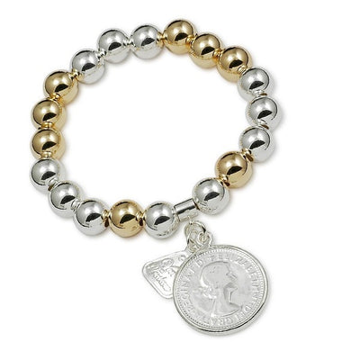 Von Treskow Silver Shilling On Two Tone Bracelet