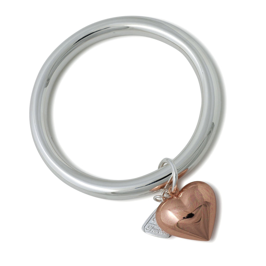 Von Treskow Silver And Rose Gold Heart Charm Bangle