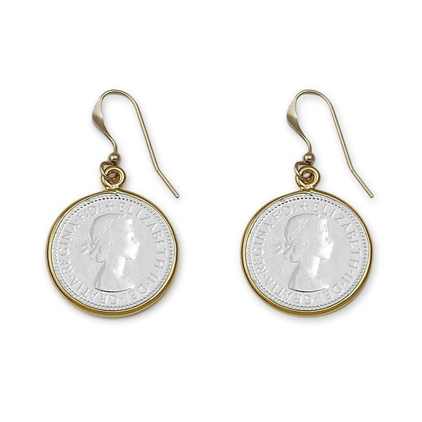Von Treskow Silver And Gold Bezel Six Pence Earrings