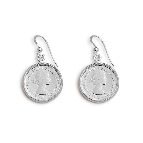 Von Treskow Silver Six Pence Coin Drop Earrings